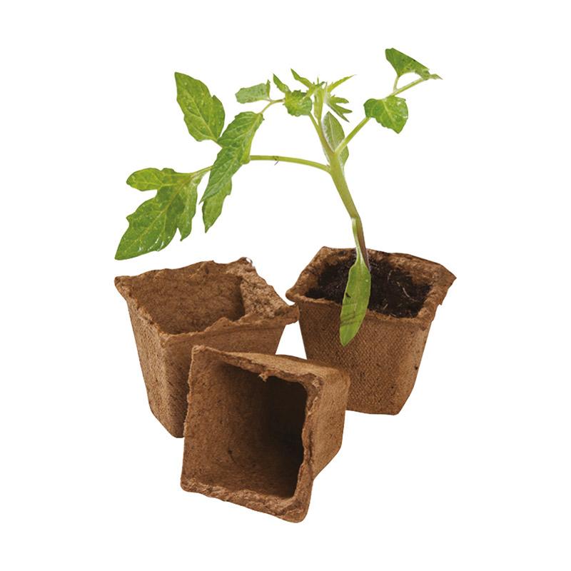 生分解性 苗鉢 Fibre Pot, Square, 60mm, 20-pack