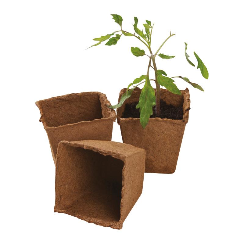 生分解性 苗鉢 Fibre Pot, Square, 80mm, 12-pack