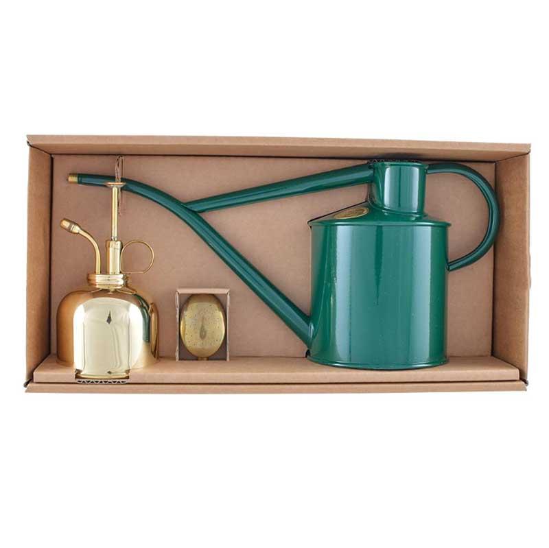 HAWS ジョウロ・霧吹きセット Haws Classic Watering Set, グリーン&ブラス