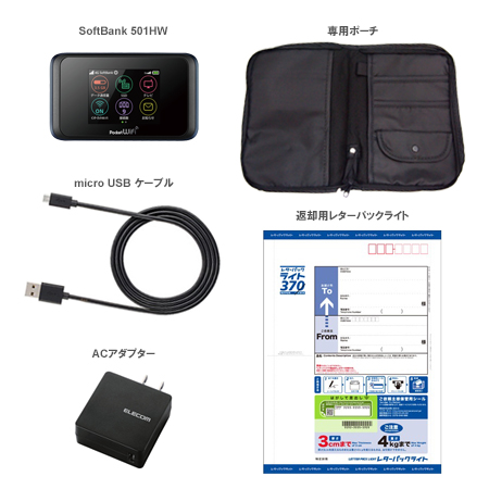 【2ヶ月(61泊62日)レンタル】 SoftBank Pocket WiFi 501HW