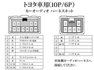 トヨタ/ダイハツ/スバル10P/6Pオーディオハーネス ナビ取り付け 配線 交換 ナビ載せ替え O1