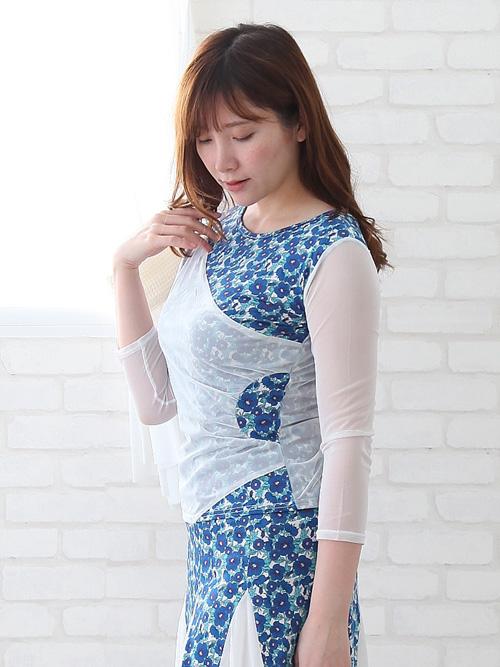 社交ダンス 衣装 セットアップ ダンススーツ ドレス 可愛い花プリントダンススーツ ブルー系 45709