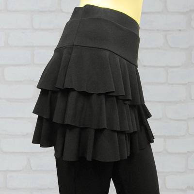 三段ミニフリルオーバースカート付パンツは、社交ダンス衣装のレッスン着に最適|31508