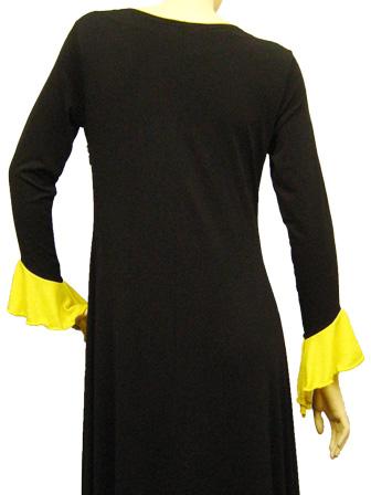 カラオケ 衣装 ステージ ロングドレス 演奏会 パッチワークドレス 黒 黄
