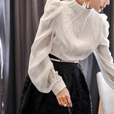 コーラス 衣装 ブラウス カタログ 楽器演奏会 第九 大正琴 結婚式 パーティー カラオケ衣装 サイズが豊富でシンプルで上品なデザインのボトルネックブラウス 白 黒 23009