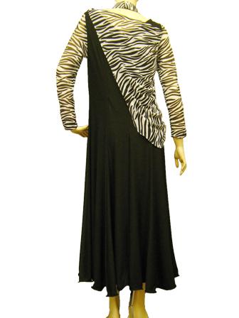 社交ダンス 衣装 ドレス カラオケ ステージ ゼブラ柄ストール風デザインカットドレス 黒ゼブラ 45685