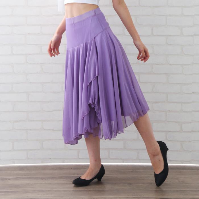 社交ダンス スカート コーラス 衣装 ステージ シースルー地フレアースカート パープル 22420