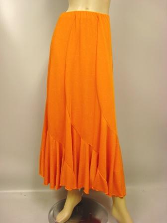 六枚はぎラメエスカルゴ風・スカート(SKYO22077)オレンジラメ