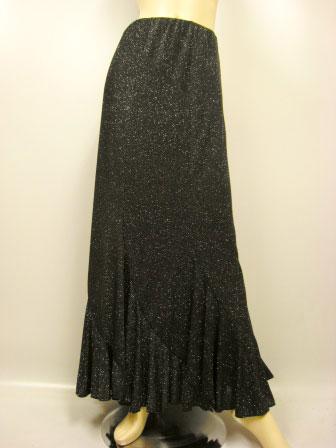 六枚はぎラメエスカルゴ風・ロング丈スカート(SKBW22144)黒/シルバーラメ MorLサイズ