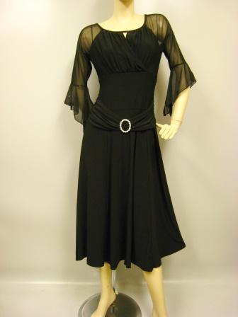 社交ダンス 衣装 ドレス モダン 練習着 バックル付きカットドレス 黒 45519
