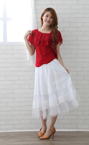 社交ダンス スカート コーラス 衣装 ステージ オーガンジー生地を挟み込んだシースルー地八枚はぎフレアースカート(SKBW22238)白