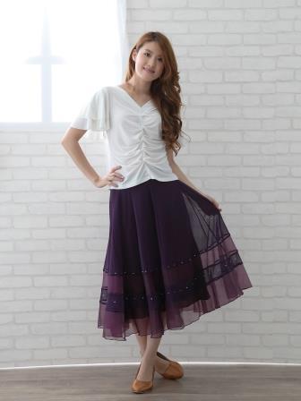 社交ダンス スカート コーラス 衣装 ステージ オーガンジー生地を挟み込んだシースルー地八枚はぎフレアースカート(SKBP22241)紫