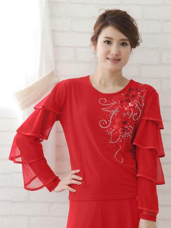 社交ダンス衣装 カラオケ衣装 レディースウェア ブラウス スパン刺繍袖四段フリルトップス 赤