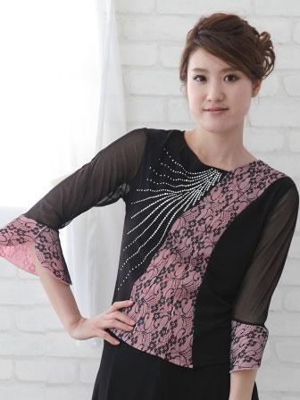 社交ダンス 衣装 カラオケ ブラウス レディースウェア メッシュレース切り替えジルコントップス 黒ピンク