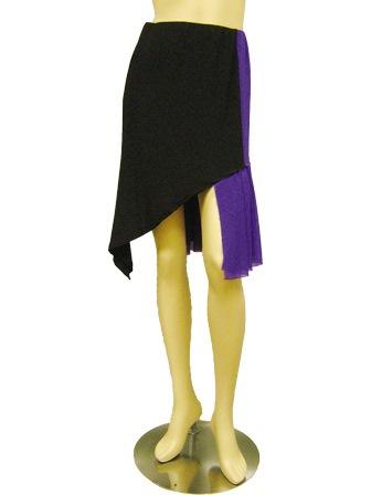 配色切り替えダンススカート(SKBW22303)黒/パープル