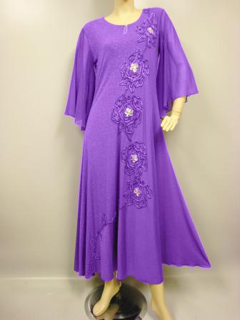 カラオケ 衣装 社交ダンス ドレス モダン 大きいサイズ 演奏会  ステージドレス パープル Lサイズ