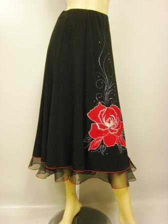 社交ダンス スカート コーラス 衣装 ステージ パッチワーク刺繍花モチーフトップスフレアースカート(SKBW20759) 黒/赤