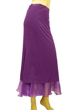 ラメ地細身タイトチューリップラインスカート(SKBP22352)パープル