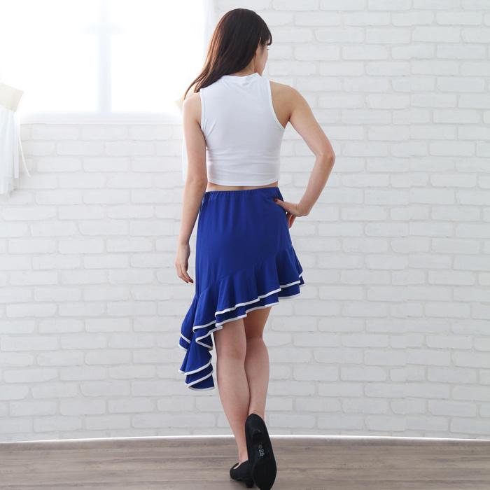社交ダンス 衣装 スカート ラテン ステージ ミニ丈パイピングフリルラテンスカート 青 22423