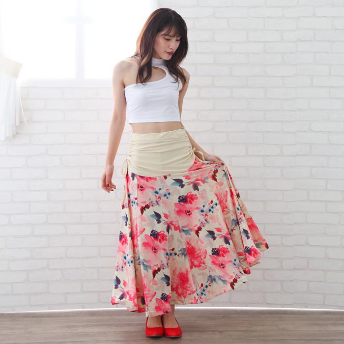 社交ダンス 衣装  スカート ステージ カラオケ 両脇ロールプリントロングスカート ベージュ赤 22425