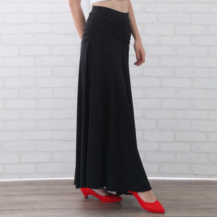社交ダンス 衣装  ステージ ロングスカート ウエスト下ヨーク切り替えロングスカート 黒 22427