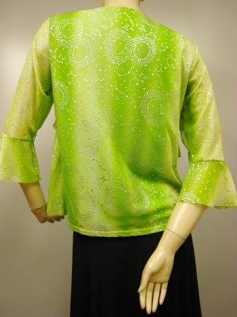 フリル使いデザイントップス(TOYO13379)黄緑