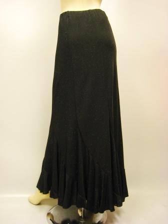 六枚はぎラメエスカルゴ風・ロング丈スカート(SKBW22145)黒/黒ラメ MorLサイズ