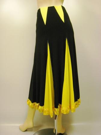 すそコード刺繍切り替えダンススカート(SKBW22170)黒/黄