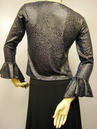 先染めラメ糸織りヒョウ柄デザイントップス(TOBP13444)パープル系