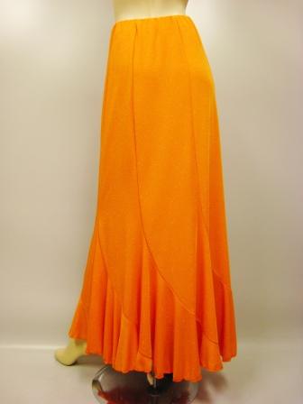 六枚はぎラメエスカルゴ風・ロング丈スカート(SKYO22191)オレンジラメ