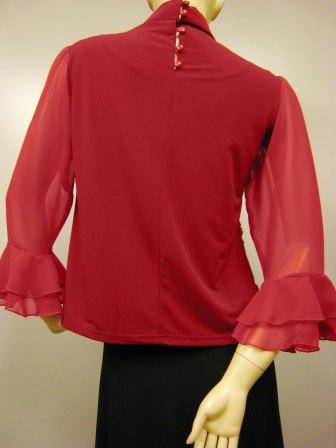 ハイネックコード刺繍デザイントップス(TORP13453)赤