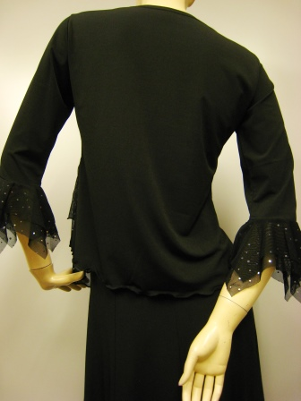 社交ダンス衣装 カラオケ衣装 ダンス衣装 ダンスウェア 豪華ジルコンぺプラムトップス 黒