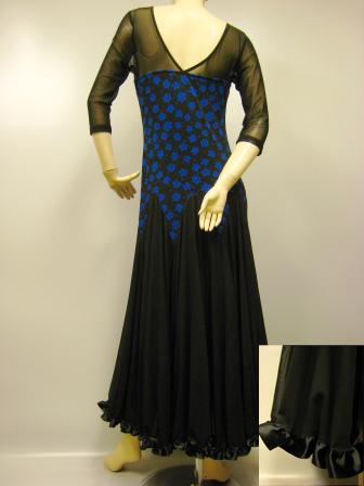 社交ダンス 衣装 モダンドレス シースルー地切り替えロング丈ドレス 黒 ブルー 45539