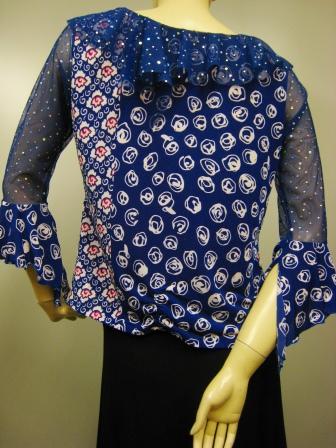 社交ダンス衣装 ブラウス ダンス衣装 ダンスウェア 貼りスパンフリル衿デザイントップス 紺