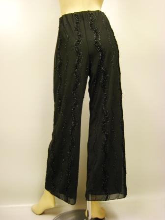 社交ダンス 衣装 ダンスパンツ ワイド フレアー ストレッチ コード刺繍ワイドパンツ 黒A