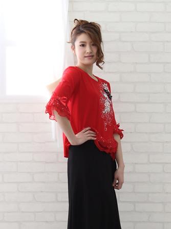 豪華花ブーケ刺繍ジルコントップストップス(CURP2350RM)赤Mサイズ