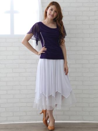 社交ダンス スカート コーラス 衣装 ステージ 八枚接ぎジルコンスカート(SKBW20718)白