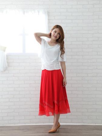 社交ダンス スカート コーラス 衣装 ステージ 八枚接ぎジルコンスカート(SKRP20719)赤
