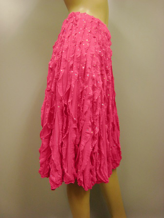 縦ミニフリルミニ丈ダンススカート(SKRP22059)ピンク