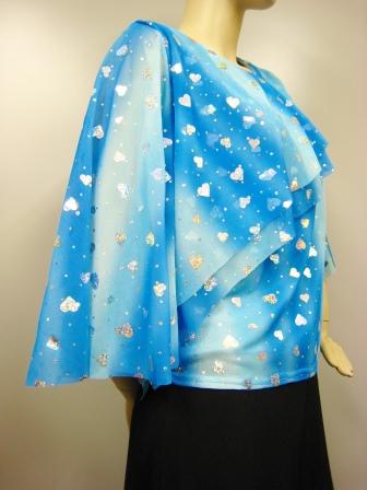 ハート柄貼りスパンデザイントップス(TOBP13392)ブルー