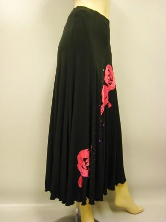 パッチワークダンススカート(SKRP22166)黒/ピンク