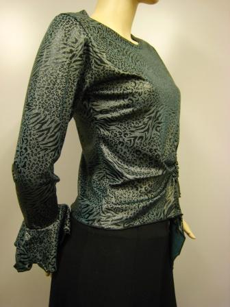 先染めラメ糸織りヒョウ柄デザイントップス(TOYO13438)グリーン系