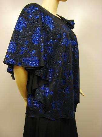 扇型ラメプリントデザイントップス(TOBP13461)黒/青