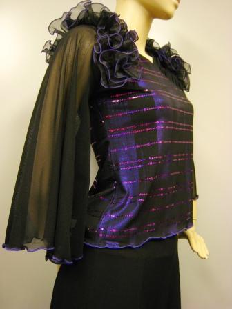 社交ダンス衣装 ダンス衣装 ダンスウェア 肩フリル貼りスパンダンストップス 紫
