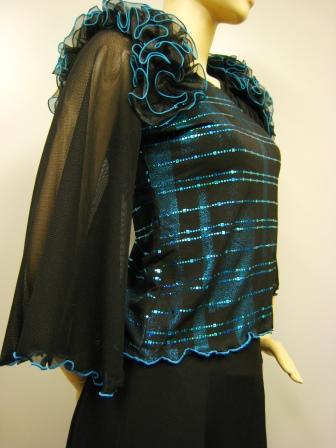 社交ダンス衣装 ダンス衣装 ダンスウェア 肩フリル貼りスパンダンストップス ブルー