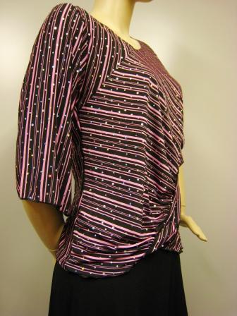 社交ダンス衣装 ダンス衣装 ダンスウェア 貼りスパンストライプトップス ピンク