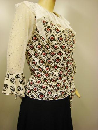 社交ダンス衣装 ブラウス ダンス衣装 ダンスウェア 貼りスパンフリル衿デザイントップス 白