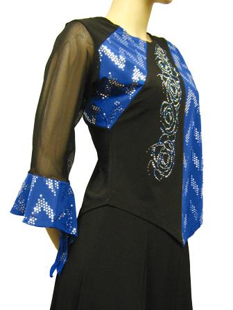 社交ダンス衣装 カラオケ衣装 レディースウェア ブラウス 貼りスパン地切り替えジルコントップス 黒青