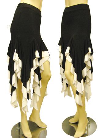 フリルイレギュラーダンススカート(SKBW22299)黒/白