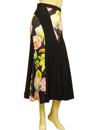 社交ダンス スカート コーラス 衣装 ステージ プリント切り替えフレアーダンススカート(SKBW22310)プリント